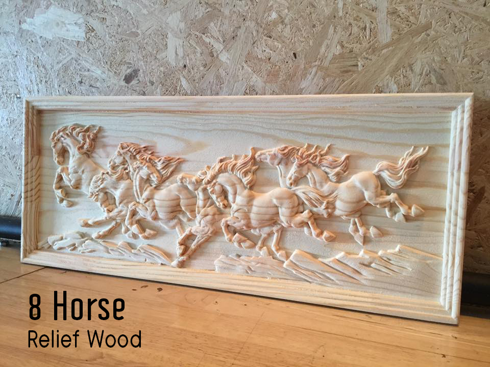 Horse Relief pine wood CNC