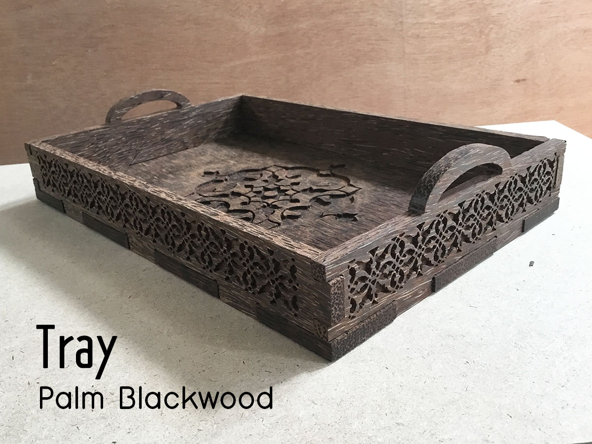 CNC Palm BlackWood Tray