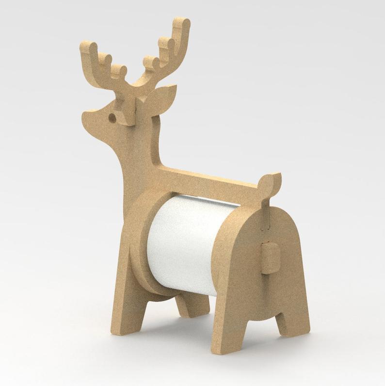 ไฟล์ดิจิตอล DXF Vector DEER Tissue Stand / CNC Wood