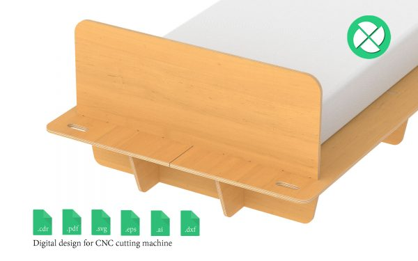 Twin bed 3.5ft furniture cnc